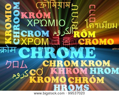 Background concept wordcloud multilanguage international many language illustration of chrome glowing light