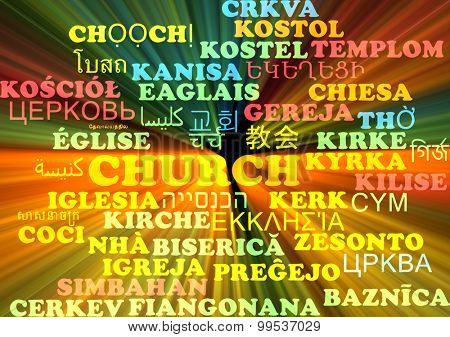 Background concept wordcloud multilanguage international many language illustration of church glowing light