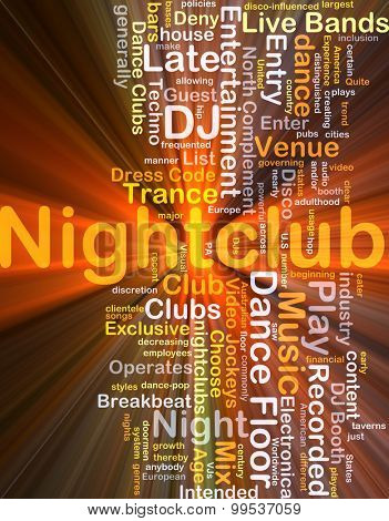 Background concept wordcloud illustration of nightclub glowing light