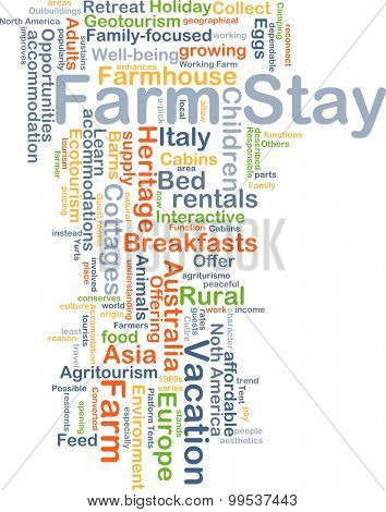 Background concept wordcloud illustration of farm stay