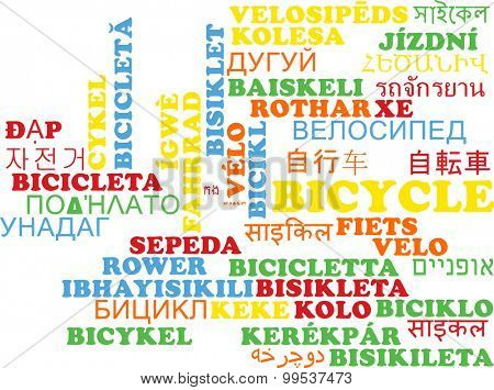 Background concept wordcloud multilanguage international many language illustration of bicycle