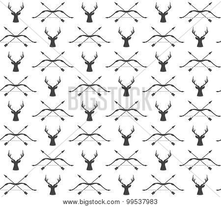 Vector Seamless Vintage Hunting Pattern With Deer And Bow