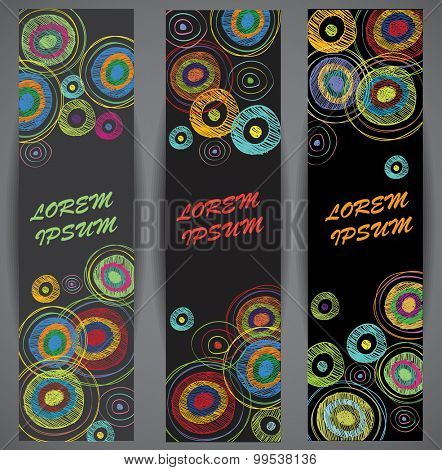 Web banners set. Color and geometry abstraction.