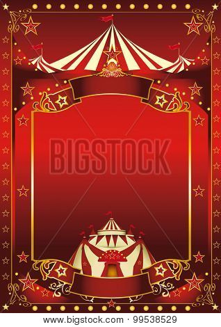 Red magic circus poster. A red background circus with a large copy space and a big top for your message.