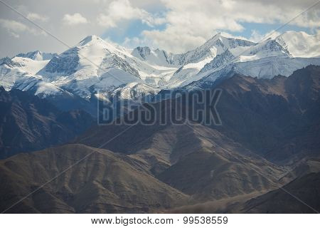 Scenic view of snow mountain mange take from Leh city , Ladakh ,India.