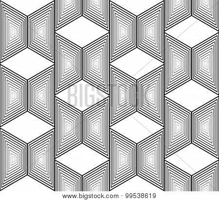Design Seamless Monochrome Trapezium Geometric Pattern
