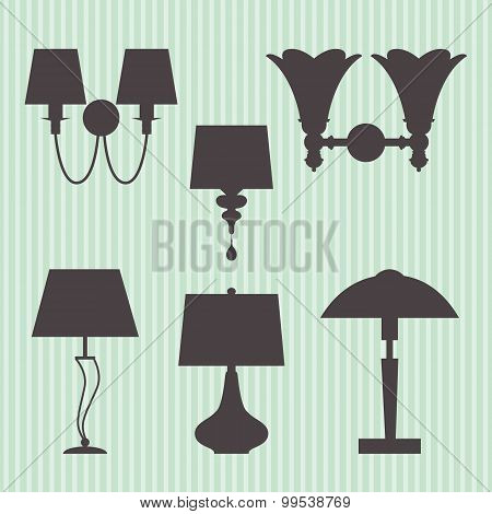 Set of silhouettes lamp and sconce