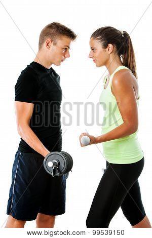 Teen Couple Having Fitness Challenge.