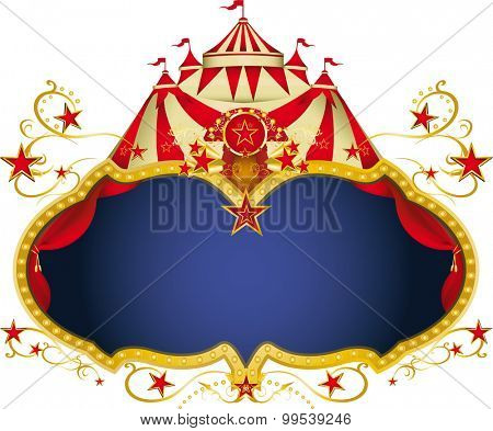 Magic circus placard. A circus frame with a big top and a large copy space for your message.