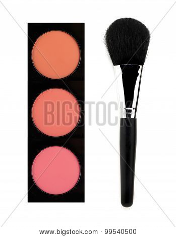 Face Blush And Brush Isolated On White Background