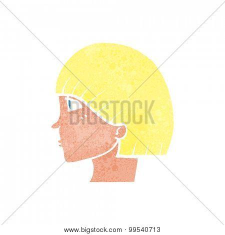retro cartoon side profile face