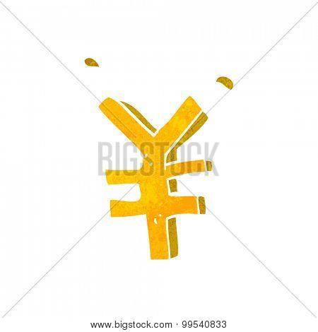 retro  cartoon yen symbol