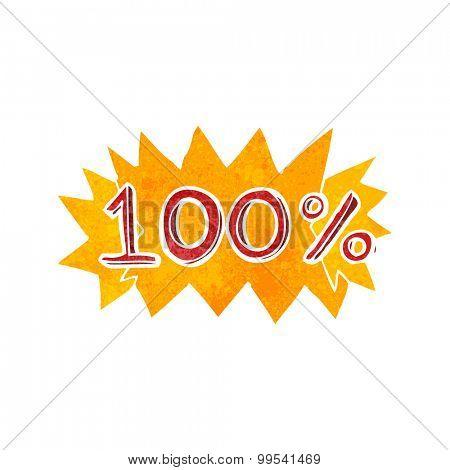retro cartoon 100% symbol