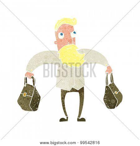 retro cartoon hipster man carrying bags