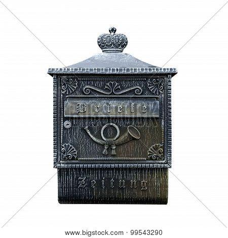 Iron Mail Box Isolated On White Background
