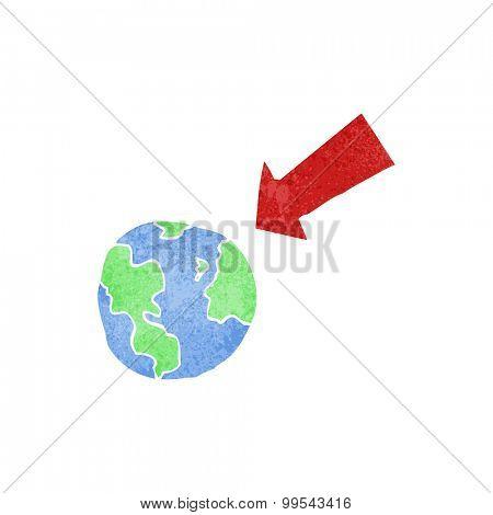 retro cartoon arrow pointing at earth