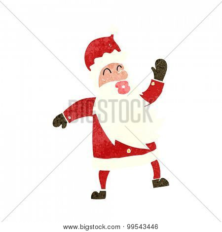 retro cartoon dancing santa