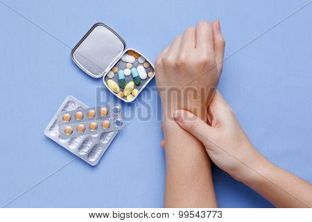 Wrist Pain Closeup Woman Hand