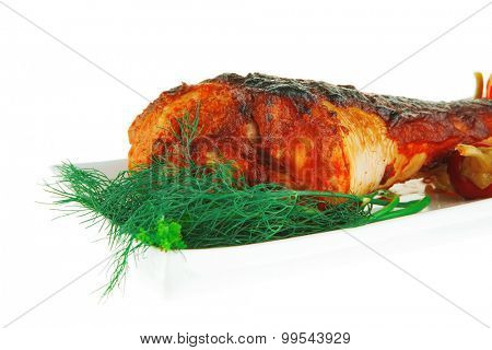 single chicken grilled drumstick on white background