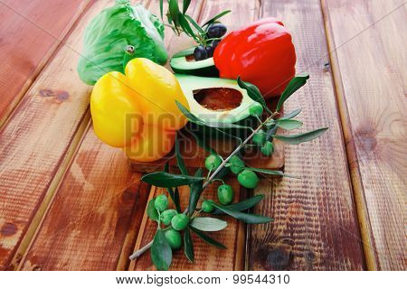 vegetables served for salad on wooden table