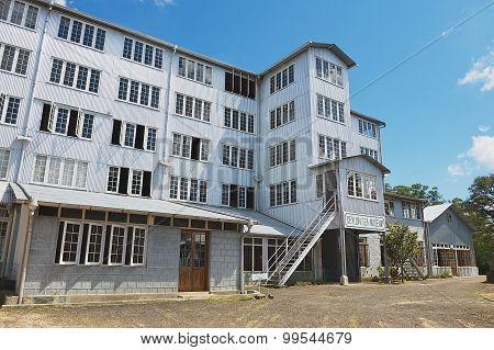 Exterior of the Ceylon tea museum building in Kandy, Sri Lanka.