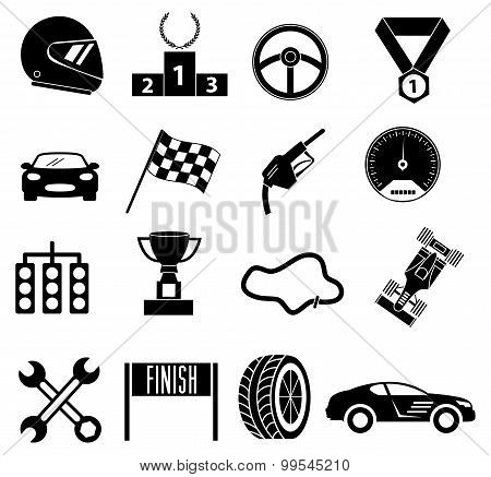 Car racing icons set