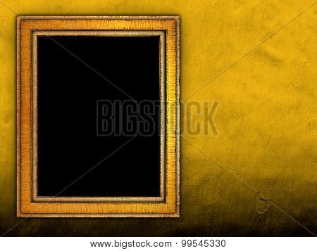 picture frame on concrete wall