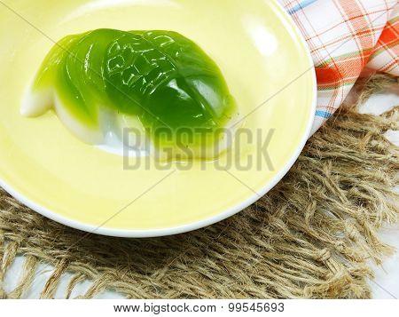 Homemade Green Pandan And Coconut Milk Jelly Pandan Jelly Fish