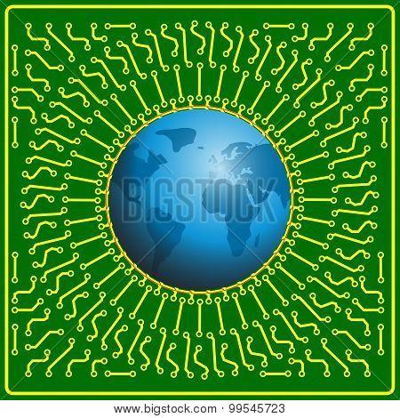 Motherboard Globe  Background For Technology Concept Design