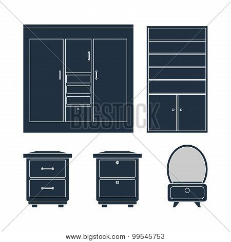 Home Furniture Set. Wardrobe Bedside Tables And Mirror
