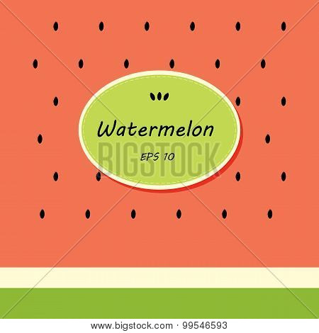 Card Template Design With Watermelon And Stiker For Text