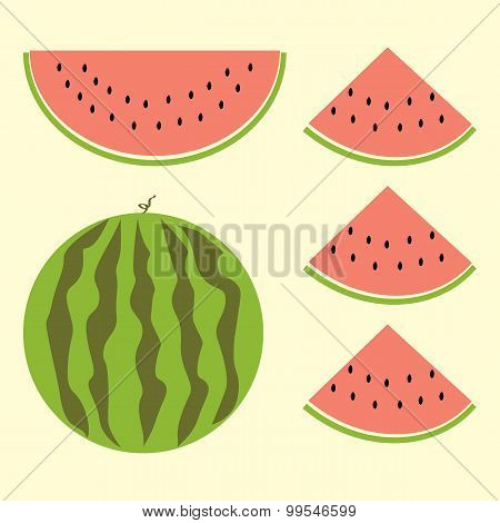 Fet Of Watermelon With Sign, Flat Style