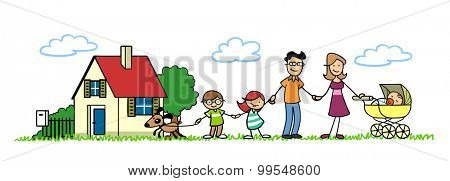 Happy family with house and baby and children and a dog