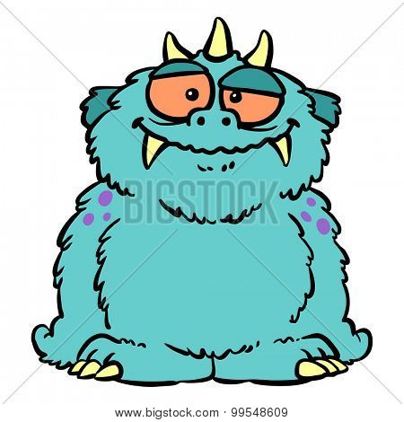 Cute furry blue cartoon monster with fangs
