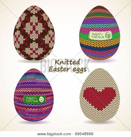 Set Of Knitted Easter Eggs Icons.