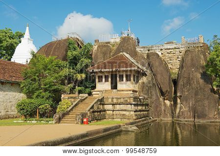 Exterior of the Isurumuniya rock temple in Anuradhapura, Sri Lanka.