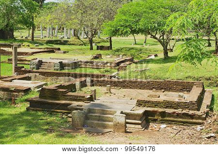 View of the ruins of the Sacred city in Anuradhapura, Sri Lanka.