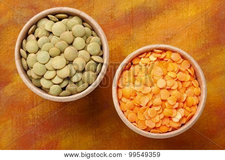 Two Bowls With Green And Red Lentils