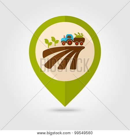 Tractor On Field Harvest Seedling Mapping Pin Icon