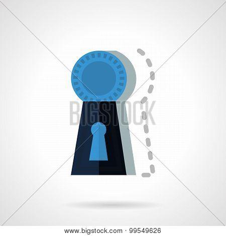 Blue keyhole flat vector icon