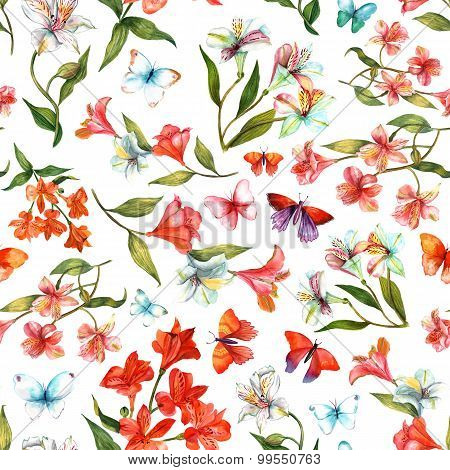 Seamless watercolor flowers (alstroemerias) and butterflies background pattern