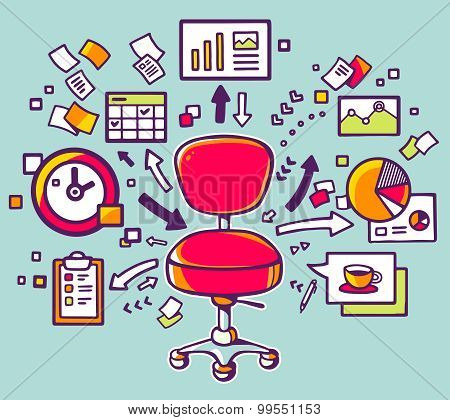 Vector Illustration Of Red Office Chair With Documents And Financial Charts On Blue Background.