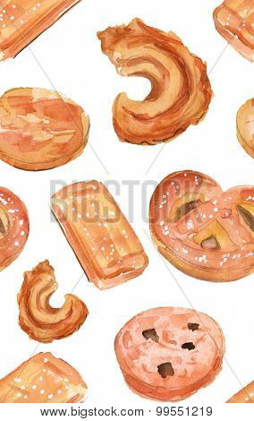 Watercolour Danish butter cookies seamless background pattern