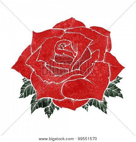 retro cartoon rose