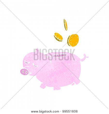 retro cartoon piggy bank