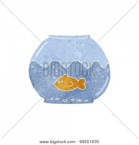 retro cartoon fish in bowl