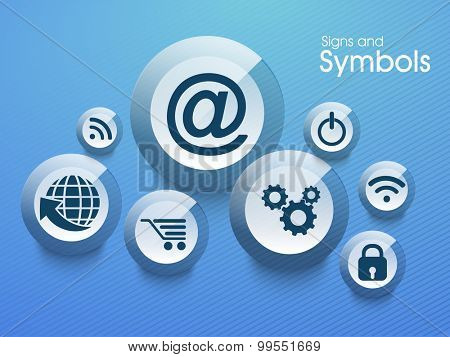 Set of various creative web signs and symbols on blue background.