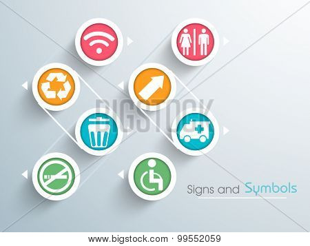 Set of various colorful stylish signs and symbols on blue background.