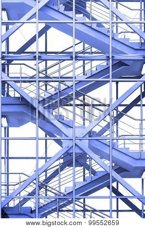 Office stairs in blue tone
