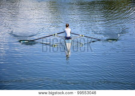 Young Women Rower In A Boat